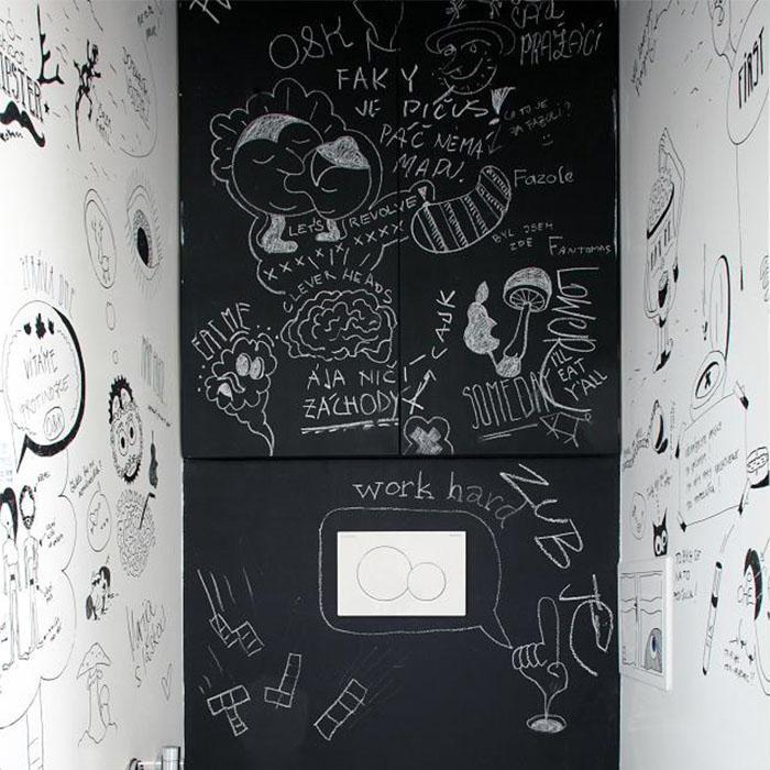 Ecritures sur mur ardoise avec peinture tableau noir smart